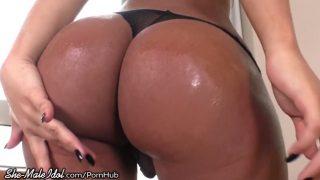 Bareback fucking a beautiful big ass tranny